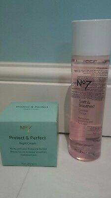 BNIB Boots No 7 Protect & Perfect Night Cream 50ml Soft & Soothed Toner 200ml