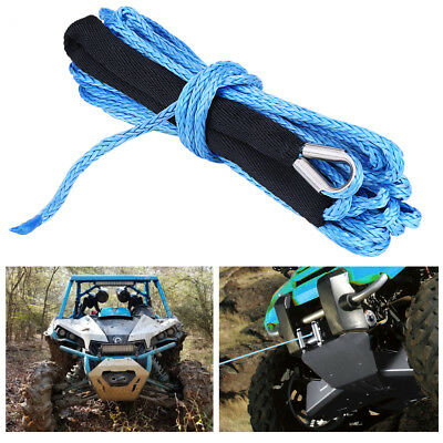 New 49ft 6600lbs Synthetic Dyneema Winch Cable Safe Rope Recovery Replacement