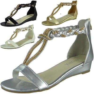 bb199d88421 Womens Studded Gladiator Sandals Ladies T-Bar Comfy Low Wedge Heel Shoes  Size