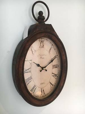 French Vintage Rustic Style Metal Oval Wall Clock Paris 1885 Shabby Chic