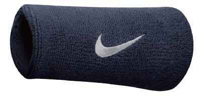 Nike Swoosh Wristbands Doublewide Double Wide 1 Pair 82816 Obsidian & White