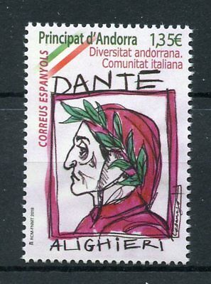 Spanish Andorra 2018 MNH Italian Community Dante Alighieri 1v Set Writers Stamps