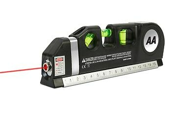 "AA Multi-Purpose Laser Level - With 8ft/2.5M tape measure and 15cm/6"" ruler"