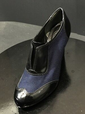e1a5607b803c Tory Burch Womens Wingtip Felt Patent Leather Navy Black Cuban Heels Size 8M