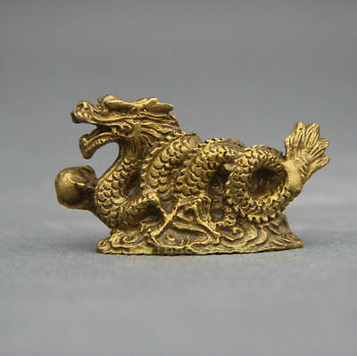 FengShui Chinese Folk Bronze Copper Stand Year Zodiac Dragon Statue Sculpture