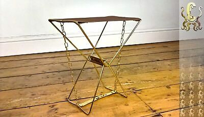 Vintage 1960s Folding Camping Stool / Chair Gold Chrome Steel frame fabric seat.