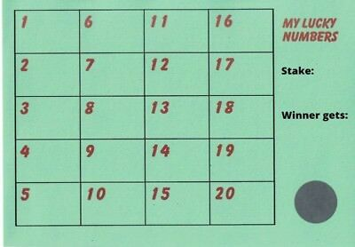 Pack of 10 X Fund Raising Charity Event Scratch Cards 20 Lucky Numbers