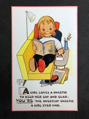 Vintage PC Artist Signed: Mabel Lucie Attwell #A522: A Girl Loves A Sweetie 6133