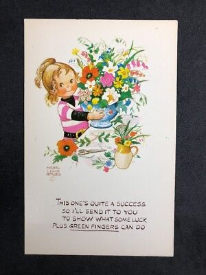 Vintage Postcard: Artist Signed: Mabel Lucie Attwell #A534: Green fingers