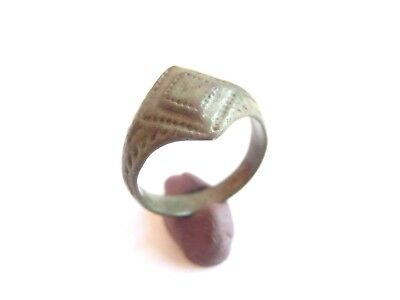 Ancient ROMAN Bronze Finger Ring ENGRAVED BEZEL - US size 6- / 7 > WEARABLE!