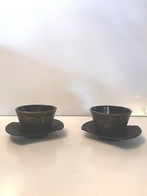 20th Century Japanese Cast Iron Tea Cup Set With Saucers Black Gold Dragon