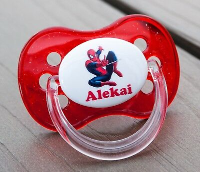 Personalised Dummy Pacifier Soother, All Teats,sizes & Colours, Spiderman