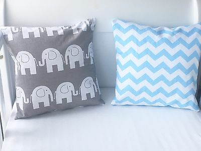"12"" Handmade Cushion Cover Grey Elephants"