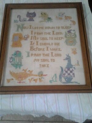 Vintage Embroidery Cross Stitch Now I Lay Me Down to Sleep Framed