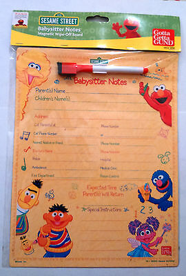 SESAME STREET BABYSITTER NOTES CONTACT BOARD Magnetic Wipe off FRIDGE Dr Phone