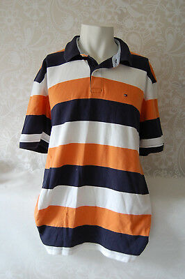Tommy Hilfiger Polo Rugby Short Sleeve Shirt Men Xl Striped