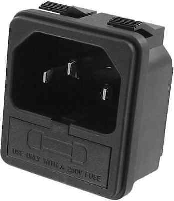 NEW Qualtek 723W-X2/03 Snap-In 3-Prong Male Panel Mount Connector w/ Fuse Holder