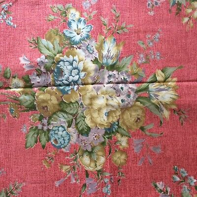 1950's Vintage Floral Fabric Square Panel - Ideal size for a cushion cover, bag