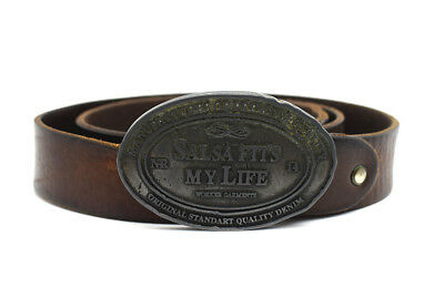 Vintage Mens Leather Belt Medium Width With Large Buckle Brown Size 38