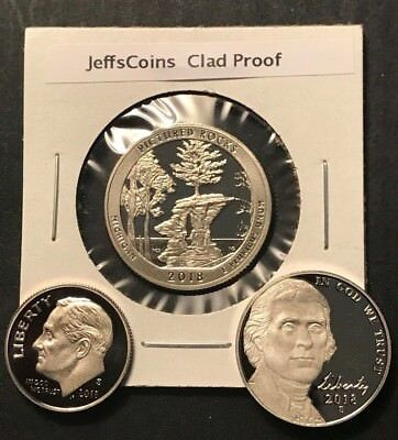 2018 S Dime Nickel Quarter Pictured Rocks 3x Clad Proof Coins New 5¢10¢ 25¢ Lot
