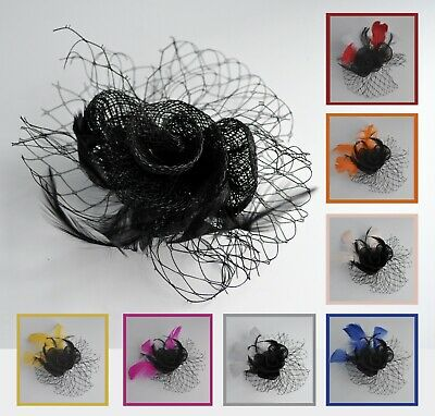 Black (and hot pink/red/blush/bespoke feathers) fabric rose fascinator hair clip