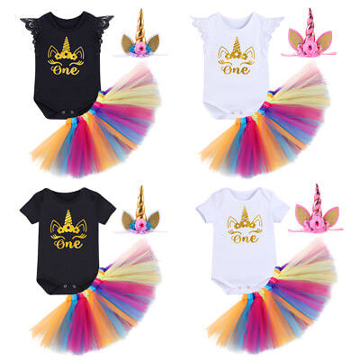 Unicorn Baby Girl 1st First Birthday Tutu One Year Clothes Cake Smash Outfits