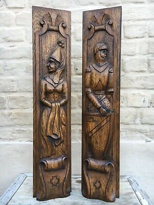 A Stunning Pair of Medieval Gothic Carved Panels in wood Knight & lady