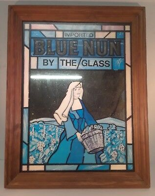 Vintage Blue Nun Wine The Glass Stained Glass Motif Frame Mirror Sign Man Cave