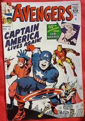 AVENGERS 4 Marvel Silver Age 1964 1st Silver Age Captain America appearance