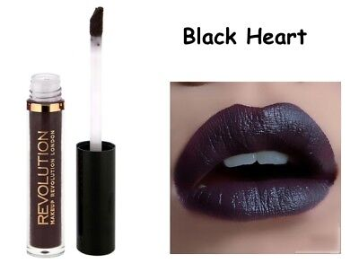 Makeup Revolution Salvation Velvet Lip Lacquer * Black Heart * Nuovo