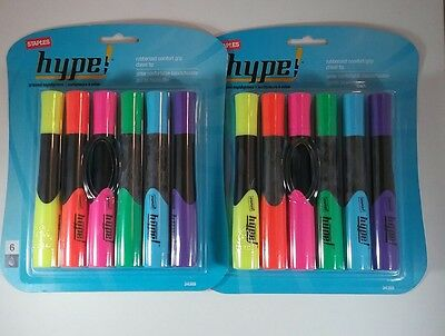 LOT OF 2 STAPLES HYPE! RUBBERIZED COMFORT GRIP HIGHLIGHTERS 6/Pack FREE SHIP!
