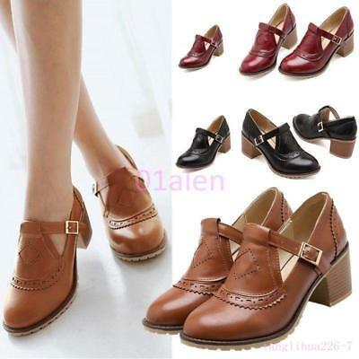 Womens Girls Vintage Brogue Retro Mid Chunky Heel Mary Janes Leather Shoes Pumps