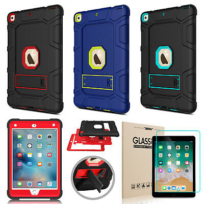 For iPad 9.7 6th Generation 2018 Case Shockproof Stand Cover + Screen Protector