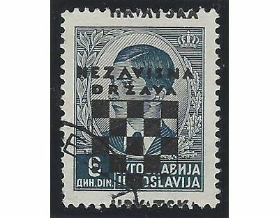 CROATIA/NDH/KROATIEN, 2nd Provisionals, 6D used example with OVERPRINT SHIFTED