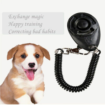 1Pc Pet Dog Cat Click Clicker Training Obedience Agility Trainer Aid+Wrist Strap