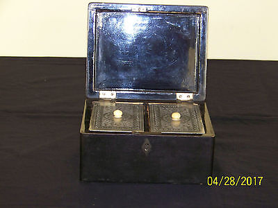 Chinese Qing Dy Export Lacquer Tea Caddy Box Hand Carved Paktong Pewter Inserts