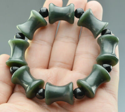 Excellent Chinese Natural Hetian Jade Jasper Bamboo Joint Shaped Beads Bracelet