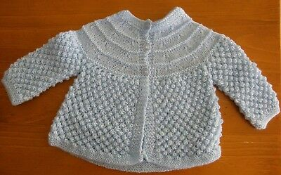 Baby Jacket: Hand Knitted - Light Blue - 6 Months