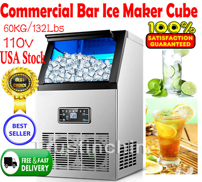 60KG/132Lbs Commercial Bar Ice Maker Cube Machine Stainless Steel 270W 110V US