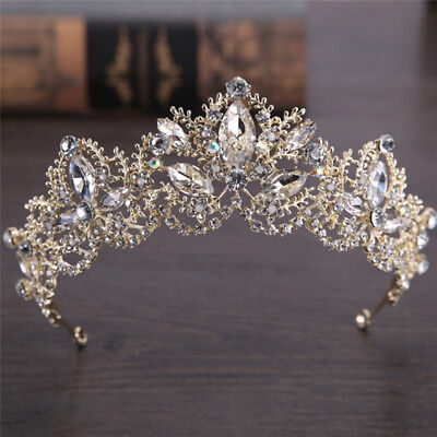 Rhinestones Baroque Bridal Crown Tiara Wedding Hair Headdress Flower King PB