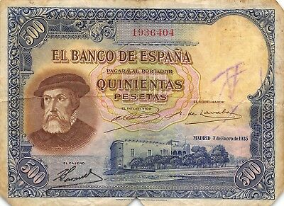 Spain  500  Pesetas  7.1.1935  P 89  Scarce issue Circulated Banknote