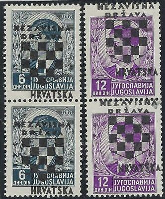 CROATIA/NDH/KROATIEN, 2nd Provisionals, 6D & 12D pairs* with OVERPRINT SHIFTED
