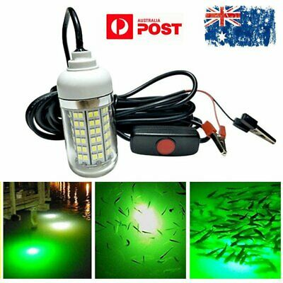 12V LED Underwater Submersible Night Fishing Light Crappie Shad Squid Boat Green