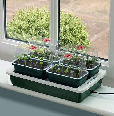 Garland Fab 4 Electric Heated Propagator Set 4 Mini Vented Propagators