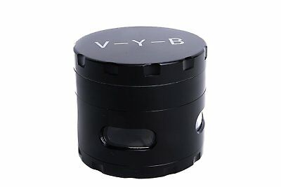 """Large Spice Tobacco Herb Weed Grinder-4 Pc with Pollen Catcher-2.5"""" Gift Black"""
