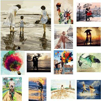 Frameless Paint by Numbers Kit DIY Canvas Oil Painting Romatic Couple Scenery AU