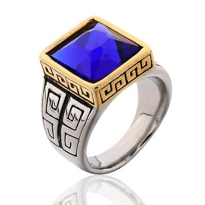 Mens Heavy Silver Stainless Steel Princess Blue Sapphire Gemstone Celtic Rings