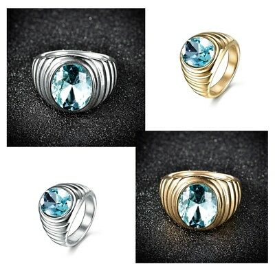 Heavy Silver Gold Stainless Steel Oval Blue Aquamarine Rings Mens Biker Jewelry