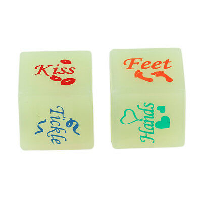 1 Pair Fun Dice Glow In Dark Romantic Love Game Naughty Sex Aid Toys 6 Sided