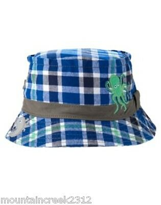 4366a289c6f Gymboree Boy s Hat Size 0 12 months Deep Sea Adventure Plaid Blue Cotton New